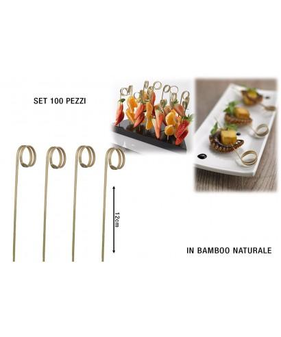 Spiedi Ricciolo bamboo cm.12 pz.100 - Leone