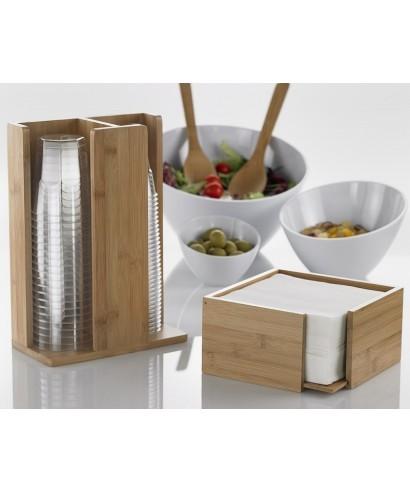 Portatovaglioli bamboo naturale 19x19x10 - Leone