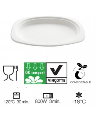 Piatti Ovali Compostabili 23x16,5 Cm. Pz.50 - Crown Chef