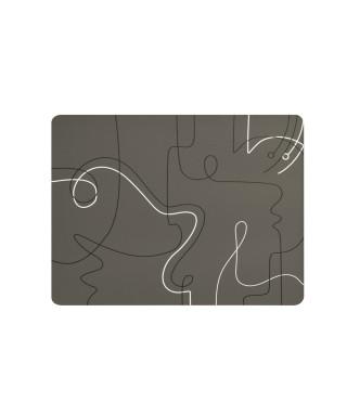 Tovaglietta linee curve tortora 31x41 cm 6 pezzi